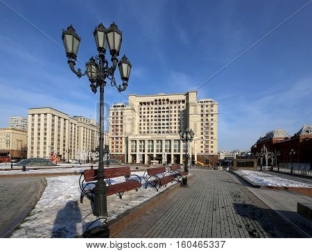 Moscow, Russia - November 21, 2016: Famous  Manezhnaya  Square Near The Kremlin In Moscow, Russia