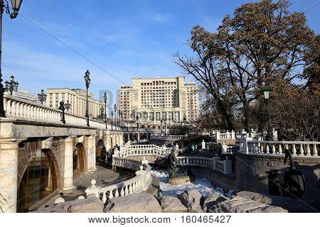 Moscow, Russia - November 21, 2016: Beautiful Alexander Garden Near The Ancient Kremlin (winter),  M