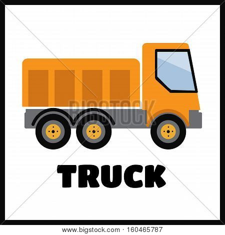 Tipper truck illustration in flat style vector icon