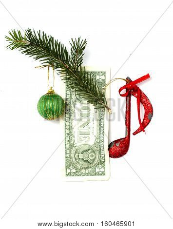 picture of an one dollar with christmas decoration elements