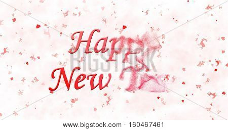 Happy New Year Text Turns To Dust From Right On White Background