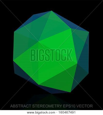 Abstract geometry: low poly Green Octahedron. 3D polygonal object, EPS 10, vector illustration.