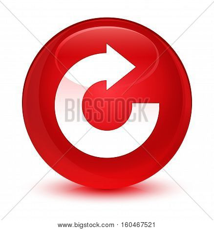 Reply Arrow Icon Glassy Red Round Button