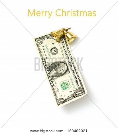 picture of an one dollar with christmas decoration elements. christmas card