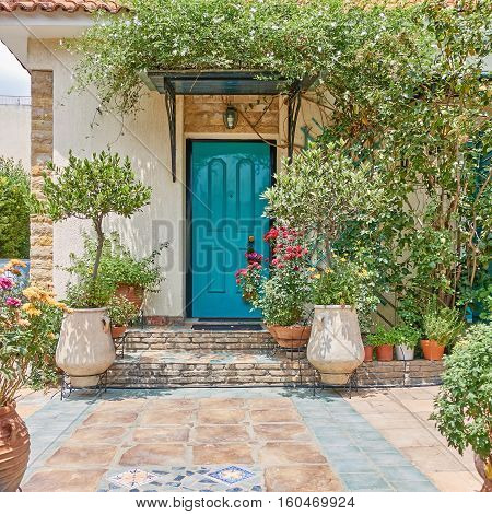 elegant house entrance with green door and flowerpots