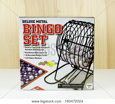RIVER FALLS,WISCONSIN-DECEMBER 07,2016: A deluxe metal Bingo set with rotary cage and numbered balls
