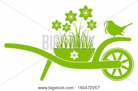 vector wheel barrow with daffodils in pot and bird with worm isolated on white background