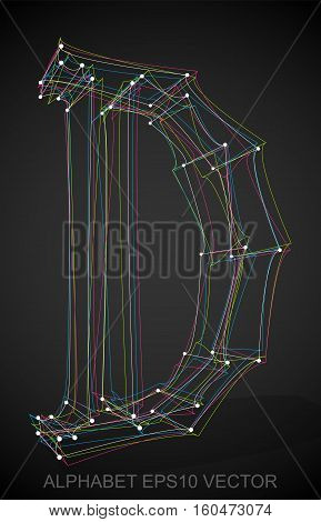 Abstract illustration of a Multicolor sketched D with Transparent Shadow. Hand drawn 3D D for your design. EPS 10 vector illustration.