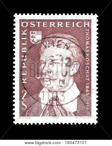 AUSTRIA - CIRCA 1970 : Cancelled stamp printed by Austria, that shows Thomas Koschat.