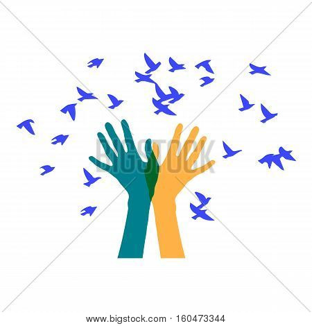 Hands releasing a flock of birds. Colored vector illustration depicting hands letting out a flock of
