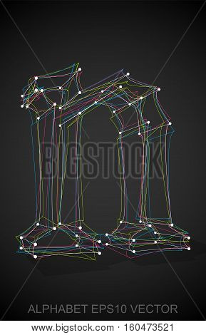 Abstract illustration of a Multicolor sketched N with Transparent Shadow. Hand drawn 3D N for your design. EPS 10 vector illustration.