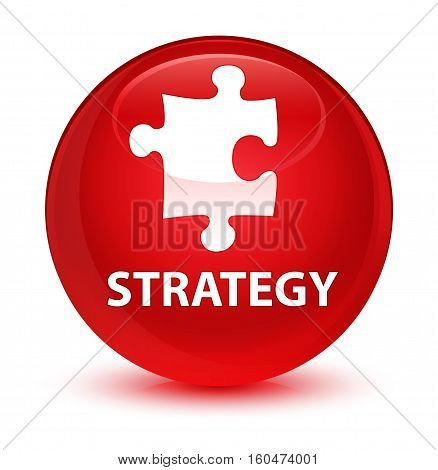 Strategy (puzzle Icon) Glassy Red Round Button