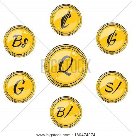 Set of Flat Coins with Symbols of 9 South American Currencies. Flat Icons of Coins with Hotspots. Vector EPS 10