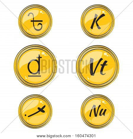 Set of Flat Coins with Symbols of 9 South Asian Currencies. Flat Icons of Coins with Hotspots. Vector EPS 10