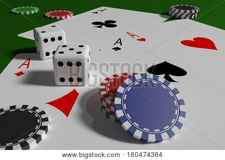 Dices Poker Cards And Casino Tokens