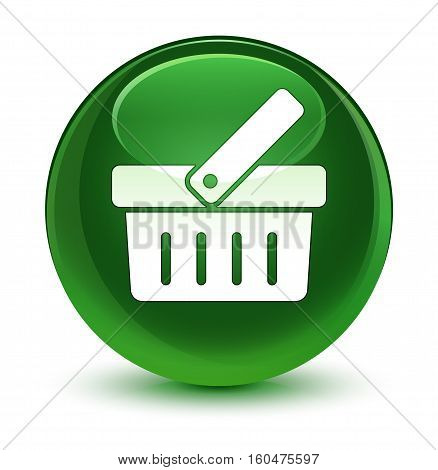 Shopping Cart Icon Glassy Soft Green Round Button