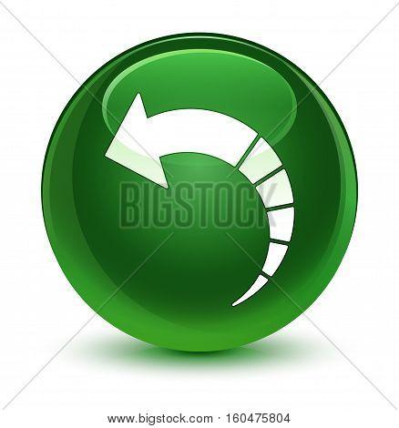 Back Arrow Icon Glassy Soft Green Round Button