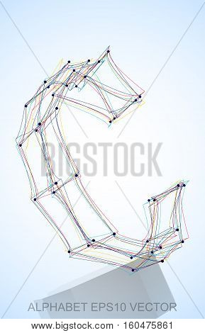 Abstract illustration of a Multicolor sketched C with Reflection. Hand drawn 3D C for your design. EPS 10 vector illustration.