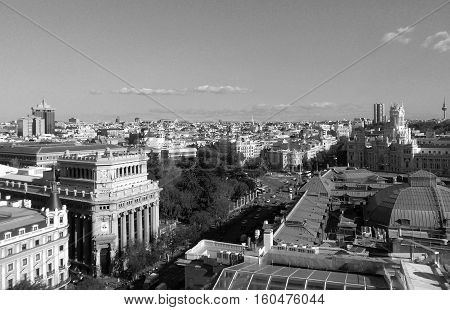 Beautiful skyline of Madrid in monotone, Spain
