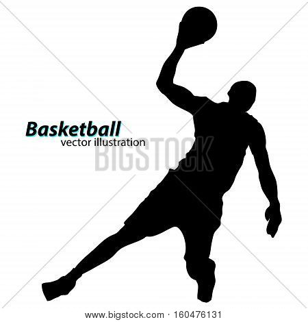 Silhouette of a basketball player. Background and text on a separate layer, color can be changed in one click