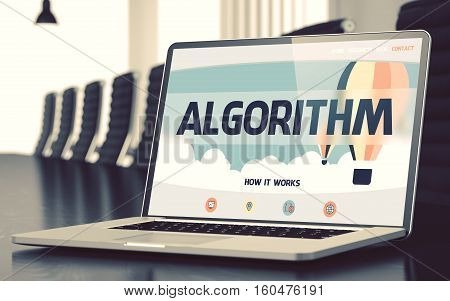 Algorithm Concept. Closeup of Landing Page on Mobile Computer Display in Modern Conference Hall. Toned Image. Selective Focus. 3D Rendering.