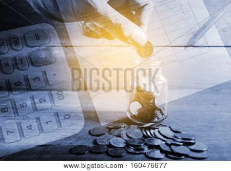 Double exposure hand with rows of coins and utility bill and calculator with account banking for finance, Money and finance concept