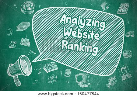 Analyzing Website Ranking on Speech Bubble. Cartoon Illustration of Shouting Horn Speaker. Advertising Concept.