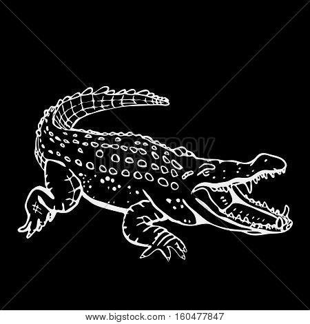 Hand-drawn pencil graphics, crocodile, alligator, croc. Engraving, stencil style. Black and white logo, sign, emblem, symbol. Stamp, seal. Simple illustration. Sketch.