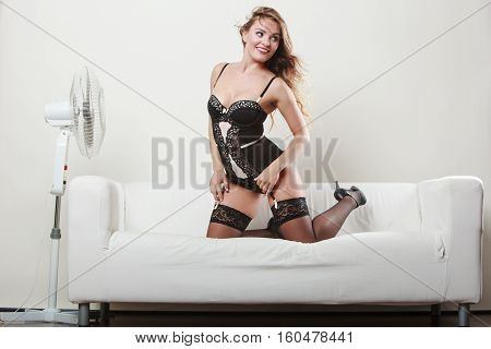 Sexy Woman Playing With Fan.