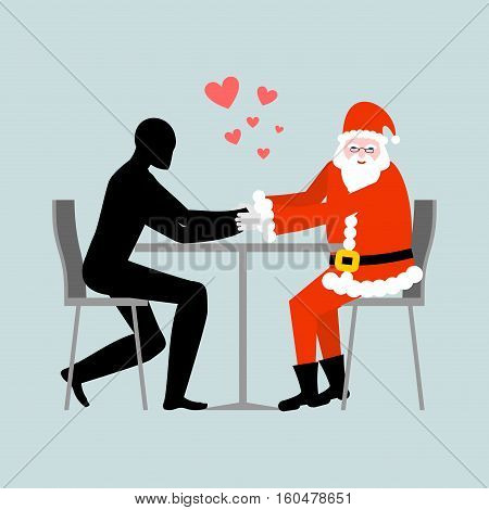 Christmas Lover. Lovers In Cafe. Man And Santa Claus Sitting At Table. Christmas In Restaurant. Roma