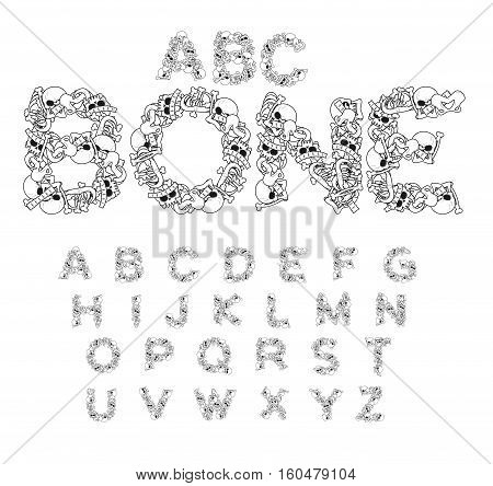 Bone Abc. Skeleton Font. Letters Anatomy. Skull And Spine. Jaw And Pelvis. Hell Scary Alphabet