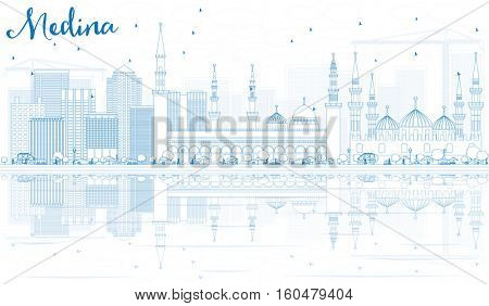Outline Medina Skyline with Blue Buildings and Reflections. Business Travel and Tourism Concept with Historic Architecture. Image for Presentation Banner Placard and Web Site.