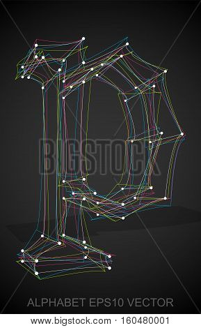 Abstract illustration of a Multicolor sketched P with Transparent Shadow. Hand drawn 3D P for your design. EPS 10 vector illustration.