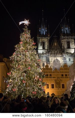 Night Scene Of Old Town Square With The Christmas Tree In Prague