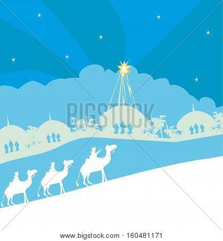 Classic three wise men scene and shining star of Bethlehem , vector illustration