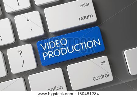 Video Production Concept White Keyboard with Video Production on Blue Enter Button Background, Selected Focus. 3D Illustration.