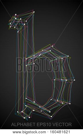 Abstract illustration of a Multicolor sketched B with Transparent Shadow. Hand drawn 3D B for your design. EPS 10 vector illustration.