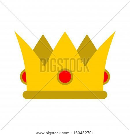 Crown Isolated. Royal Hat. Gold Crown With Diamonds Flat Style. Classic Queen Accessory