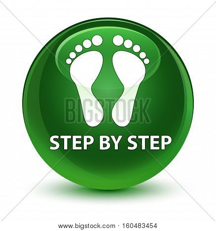 Step By Step (footprint Icon) Glassy Soft Green Round Button