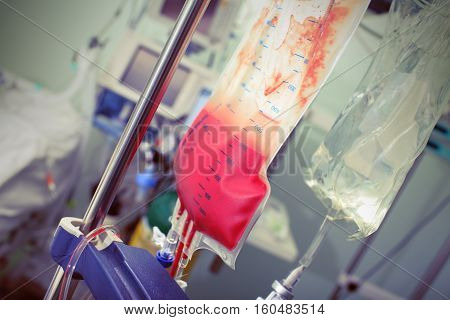 Transfusion of blood to seriously ill patient.