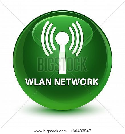 Wlan Network Glassy Soft Green Round Button
