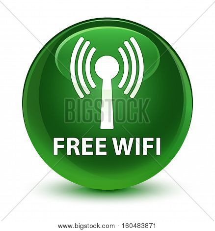 Free Wifi (wlan Network) Glassy Soft Green Round Button
