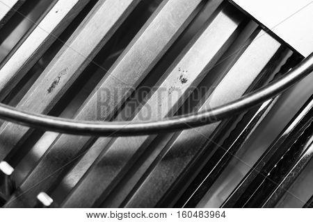 Metallic medical tool in the kit case.
