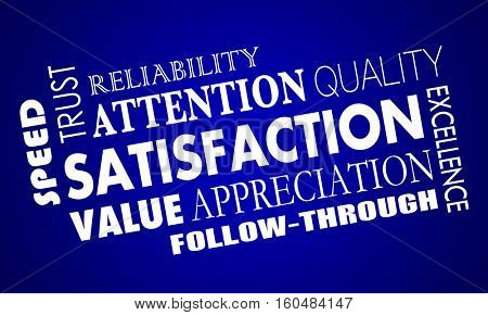 Satisfaction Word Collage Good Great Response 3d Illustration