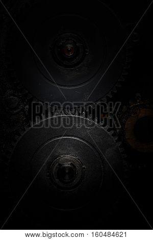 Contact line of two gearwheel cogs. Macro photo