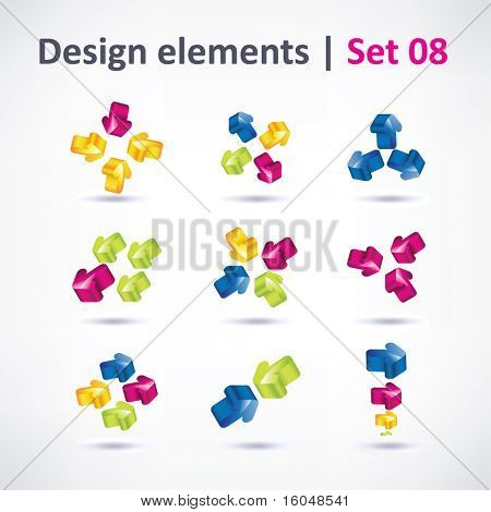 Business Design elements ( icon ) arrow set for print and web. vector