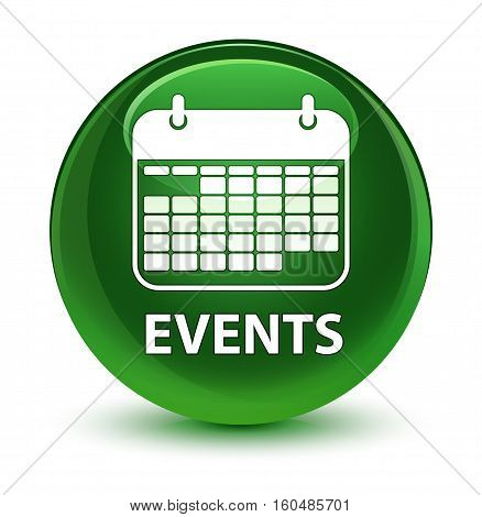 Events (calendar Icon) Glassy Soft Green Round Button