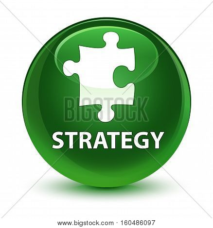 Strategy (puzzle Icon) Glassy Soft Green Round Button