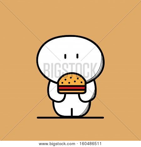 Cute funny fat and plump man with burger or sandwich on the brown background. Weight and fast food - cartoon vector illustration.