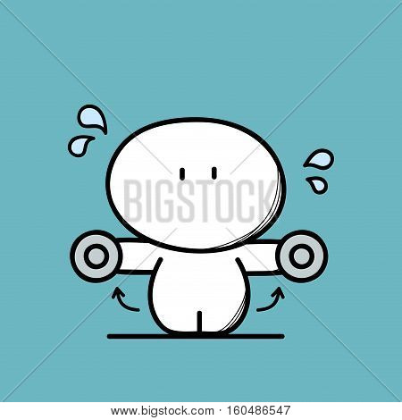 Cute funny fat man and sport or fitness on the blue background. Lose weight and healthy lifestyle - cartoon vector illustration.